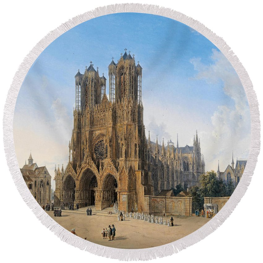 Domenico Quaglio Round Beach Towel featuring the painting Cathedral Of Notre-dame At Reims by Domenico Quaglio
