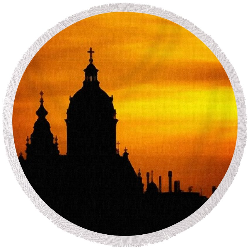 Cathedral.sunset Round Beach Towel featuring the digital art Cathedral Silhouette Sunset Fantasy L B by Gert J Rheeders