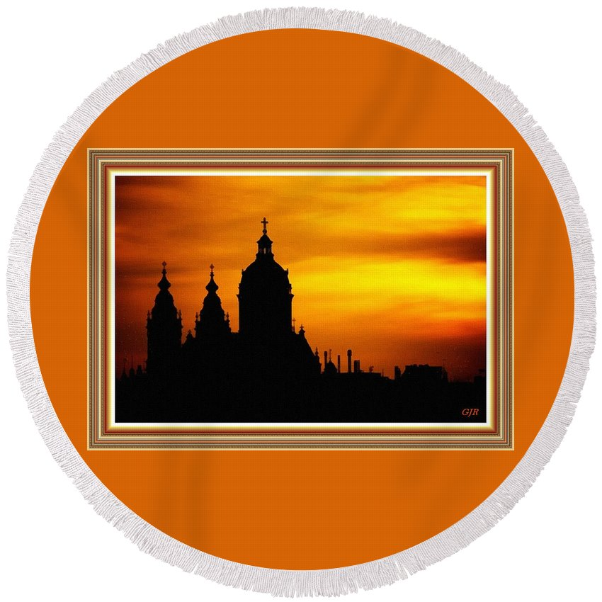 Cathedral.sunset Round Beach Towel featuring the digital art Cathedral Silhouette Sunset Fantasy L B With Decorative Ornate Printed Frame. by Gert J Rheeders