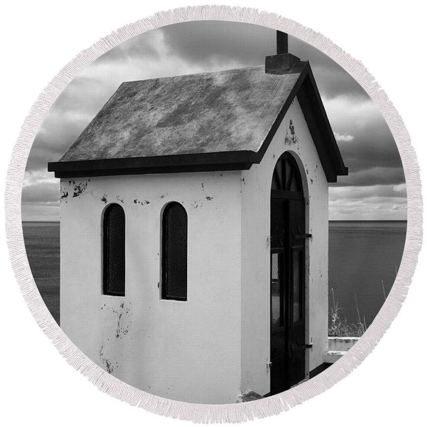 Azores Round Beach Towel featuring the photograph Catholic Chapel by Gaspar Avila