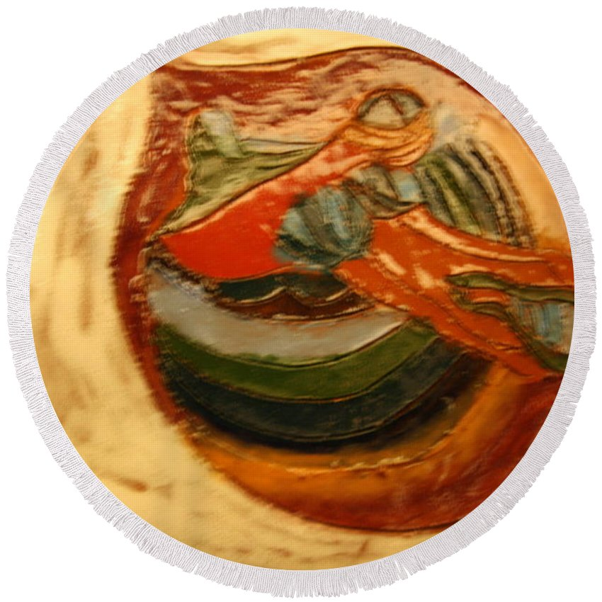 Jesus Round Beach Towel featuring the ceramic art Cathy - Tile by Gloria Ssali