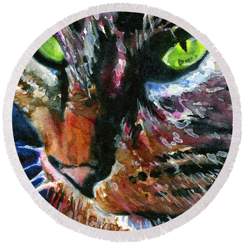 Cats Round Beach Towel featuring the painting Cats Eyes 11 by John D Benson