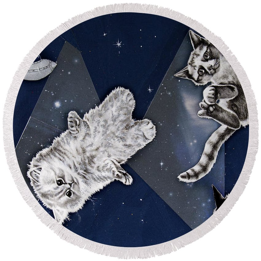 Cat Round Beach Towel featuring the drawing Cats In Space by Mary Williams