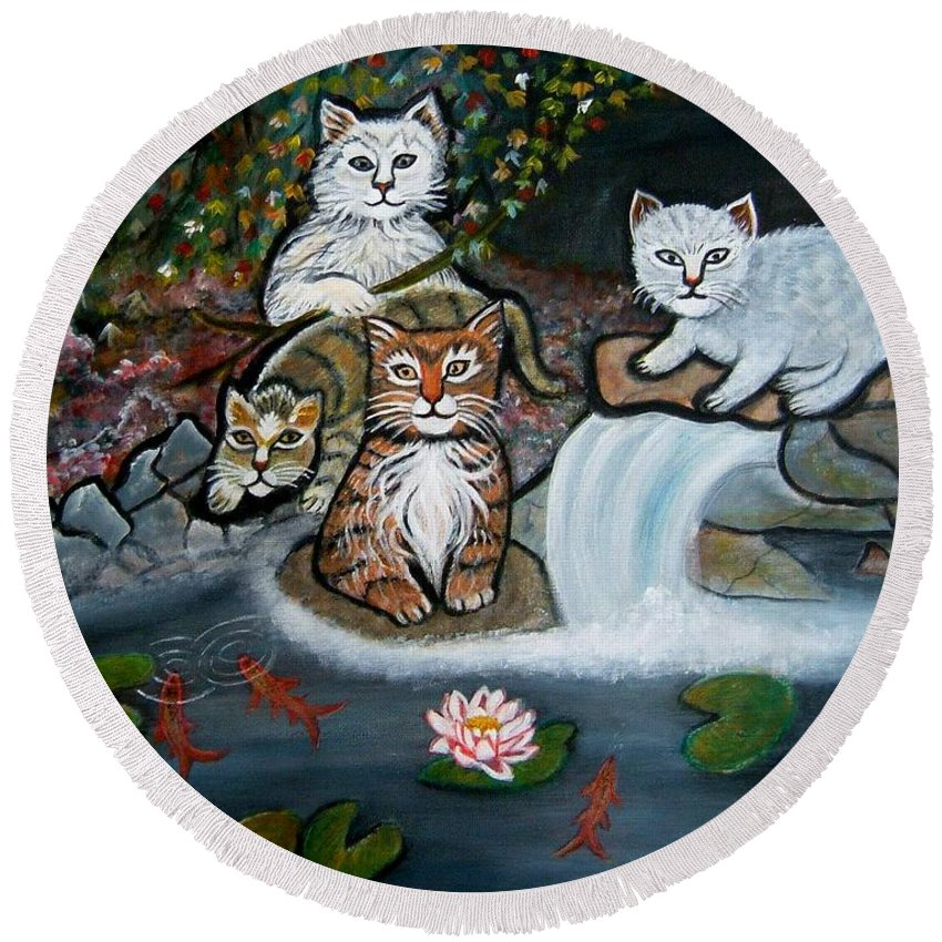 Acrylic Art Landscape Cats Animals Figurative Waterfall Fish Trees Round Beach Towel featuring the painting Cats In The Wild by Manjiri Kanvinde