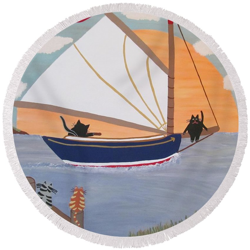 Cat Boat Cats Round Beach Towel featuring the painting Cats On Cat Boat by Deborah Martin