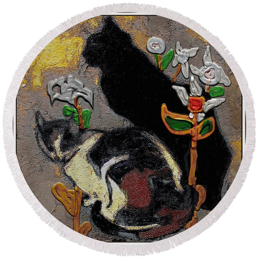 Cats Round Beach Towel featuring the mixed media Cats by Pemaro