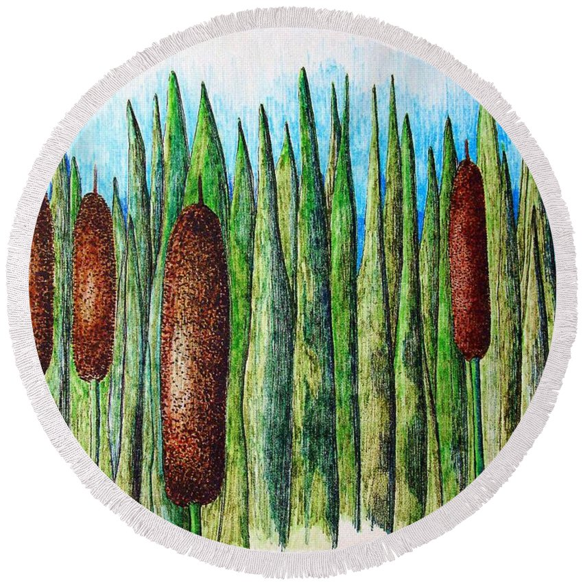 Cattails Round Beach Towel featuring the drawing Cattails 1 by J R Seymour
