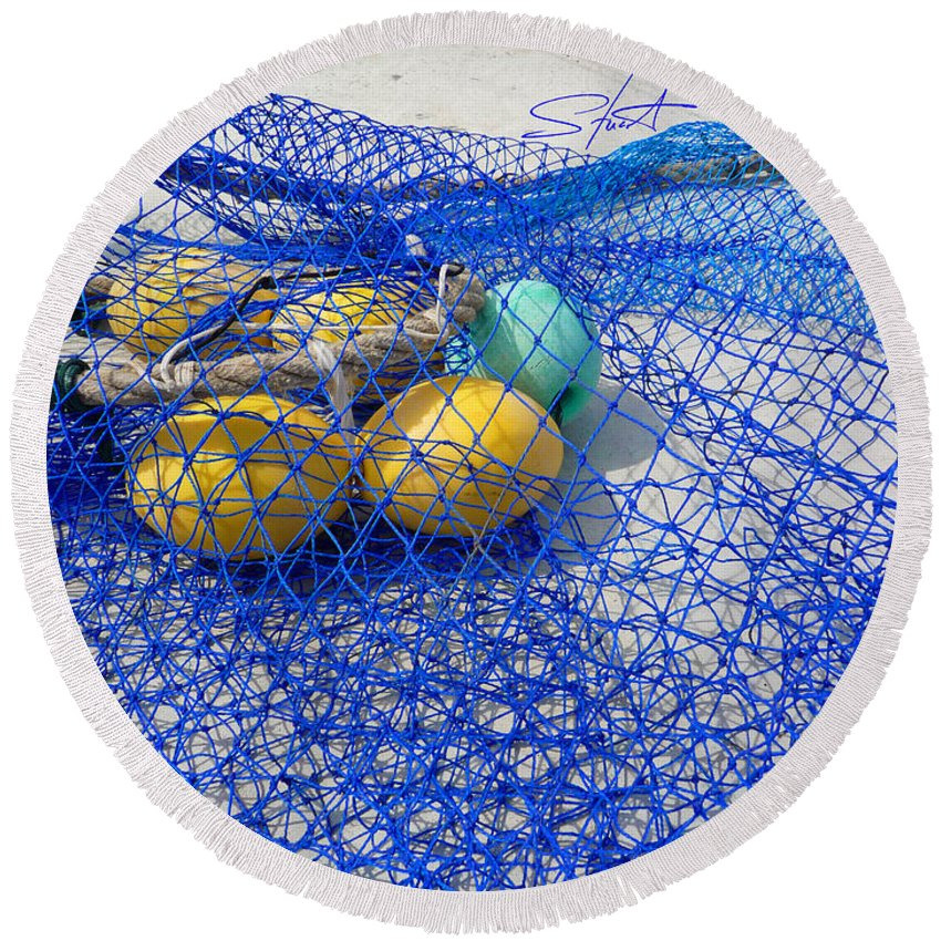 Fishing Net Round Beach Towel featuring the photograph Caught by Charles Stuart