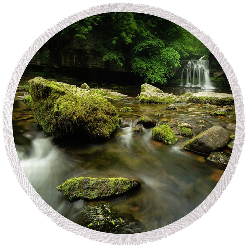 Waterfall Round Beach Towel featuring the photograph Cauldren Falls by Andrew Drinkwater