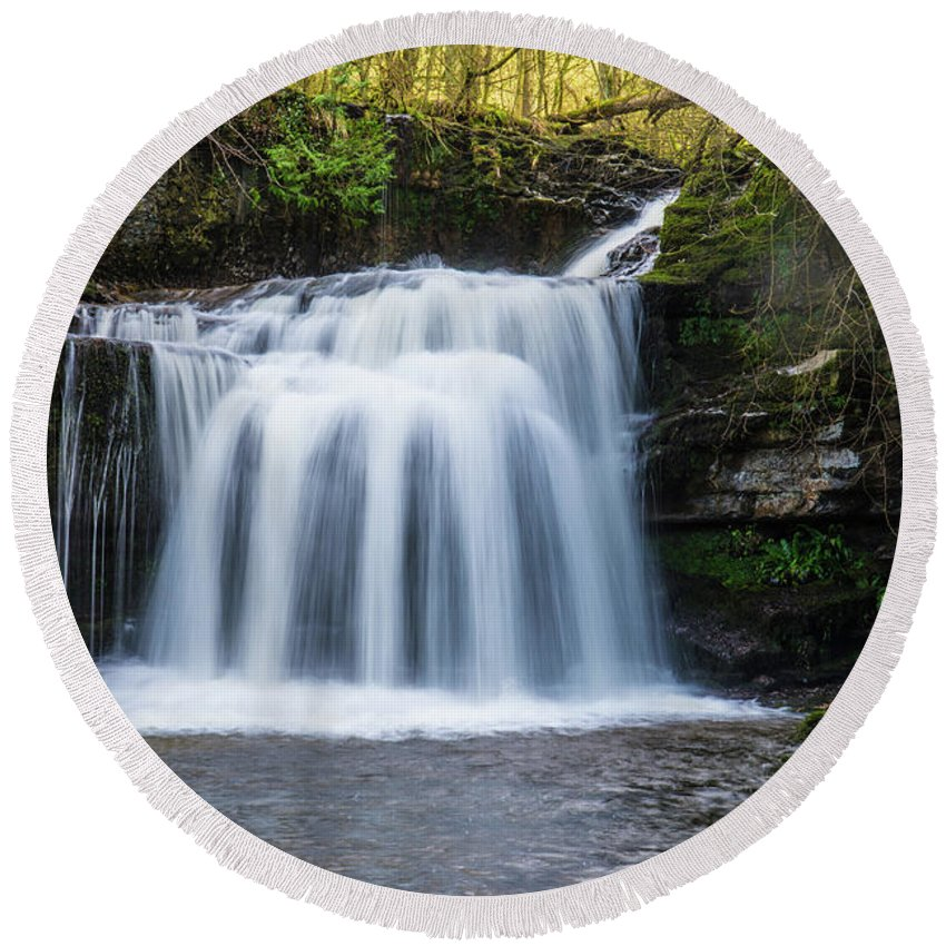 Water Round Beach Towel featuring the photograph Cauldron Falls,west Burton, North Yorkshire. by Andy Bradley