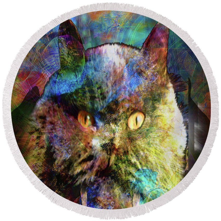 Cave Cat Round Beach Towel featuring the digital art Cave Cat by John Beck