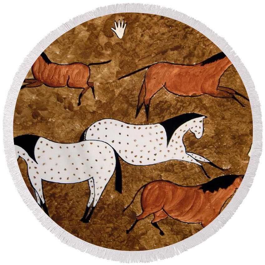 Horses Round Beach Towel featuring the painting Cave Horses by Stephanie Moore