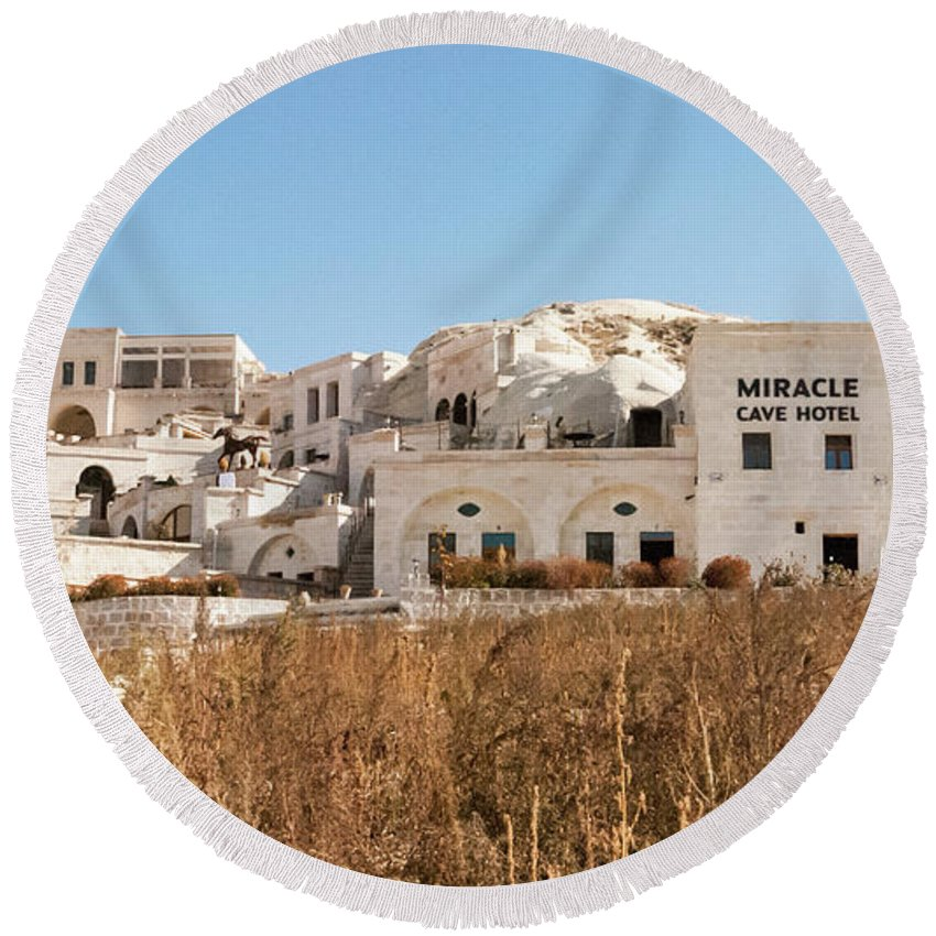 Cave Hotel Round Beach Towel featuring the photograph Cave Hotel by Phyllis Taylor