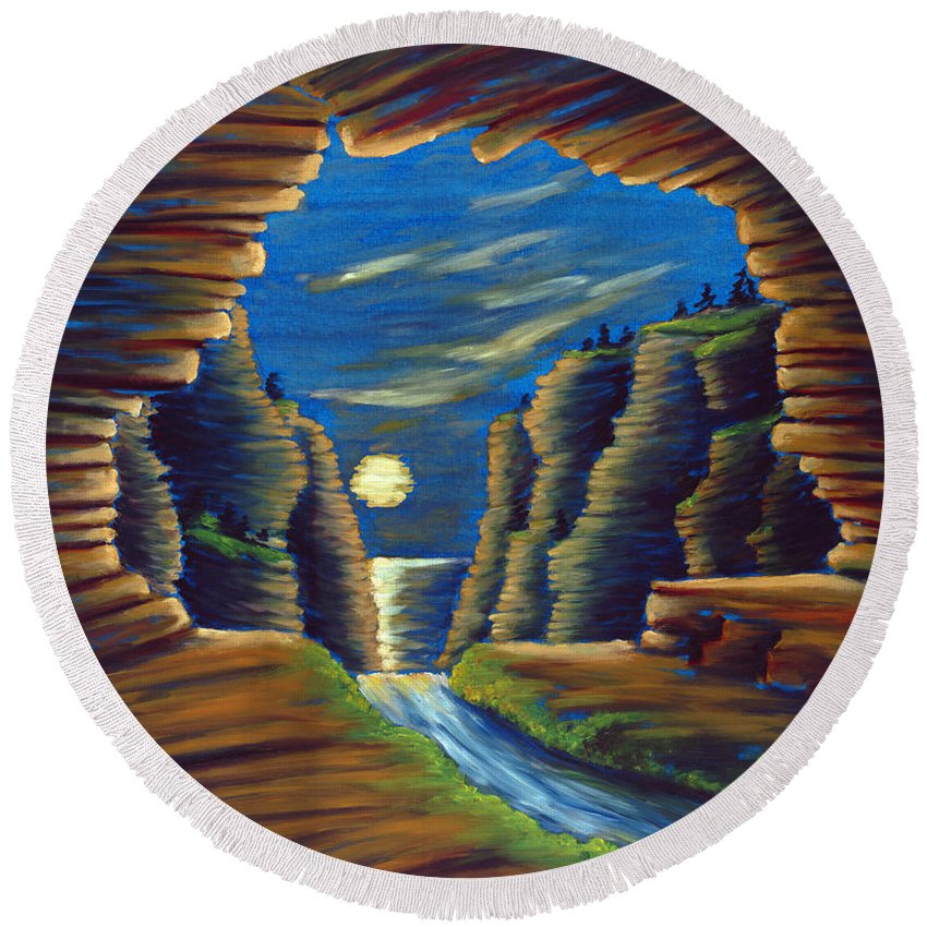 Cave Round Beach Towel featuring the painting Cave With Cliffs by Jennifer McDuffie