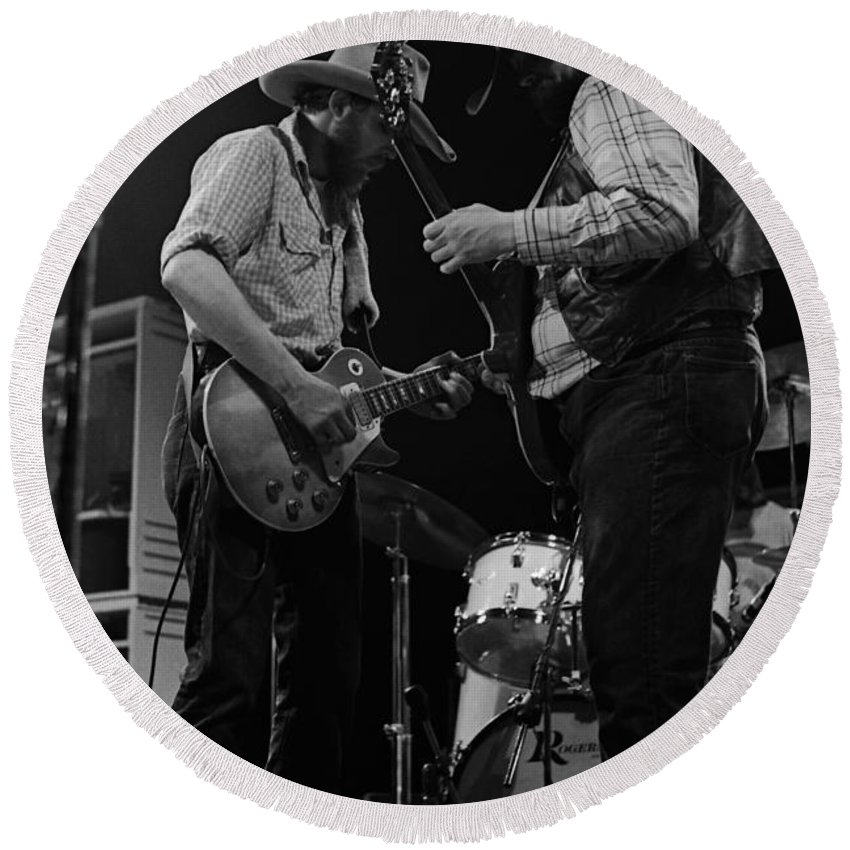 Tommy Crain Round Beach Towel featuring the photograph Cdb Winterland 12-13-75 #22 by Ben Upham