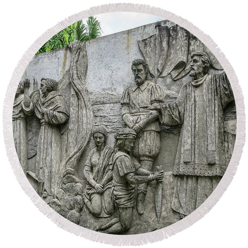 Catholic Round Beach Towel featuring the photograph Cebu Carvings by Adrian Evans