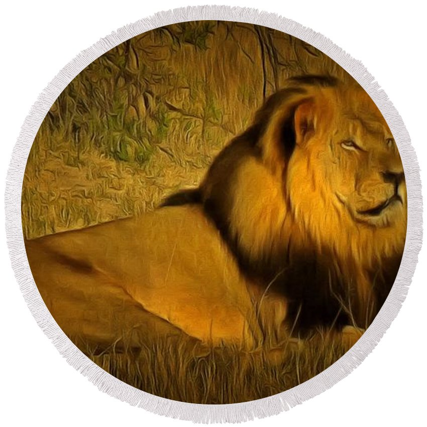 Cecil Round Beach Towel featuring the painting Cecil The Lion by Leonardo Digenio