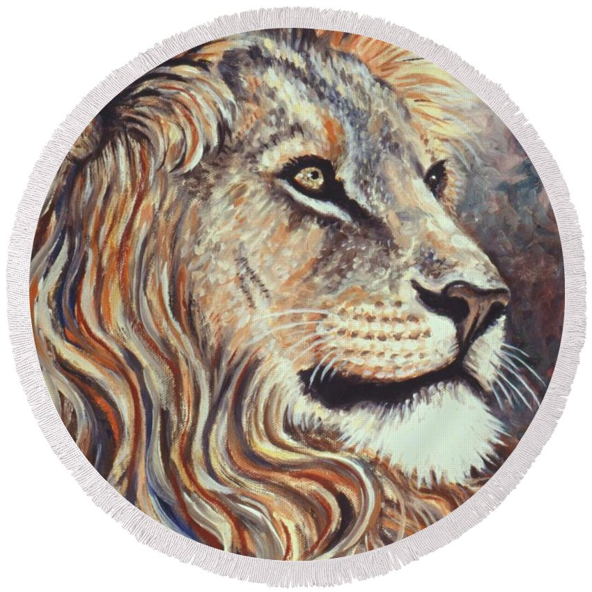 Cecil Round Beach Towel featuring the painting Cecil The Lion by Linda Mears