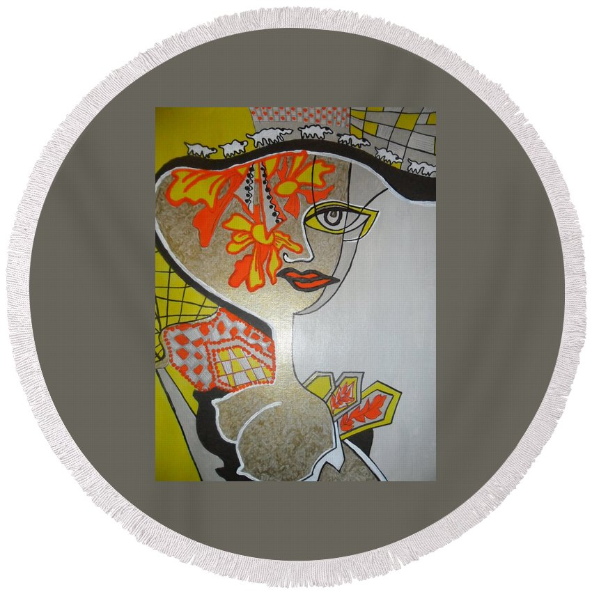 Round Beach Towel featuring the painting Cecilia by Carmen Gacet