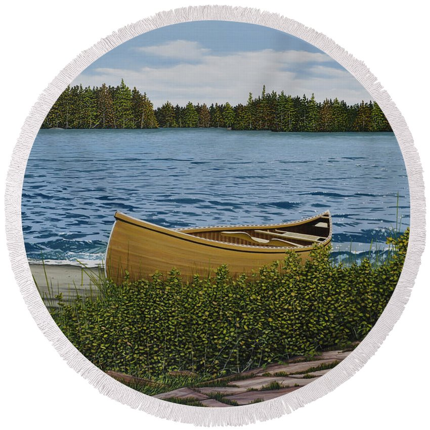 Landscapes Round Beach Towel featuring the painting Cedar Canoe by Kenneth M Kirsch