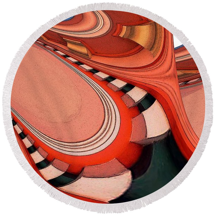 Ceiling Round Beach Towel featuring the digital art Ceiling Feeling by Ron Bissett