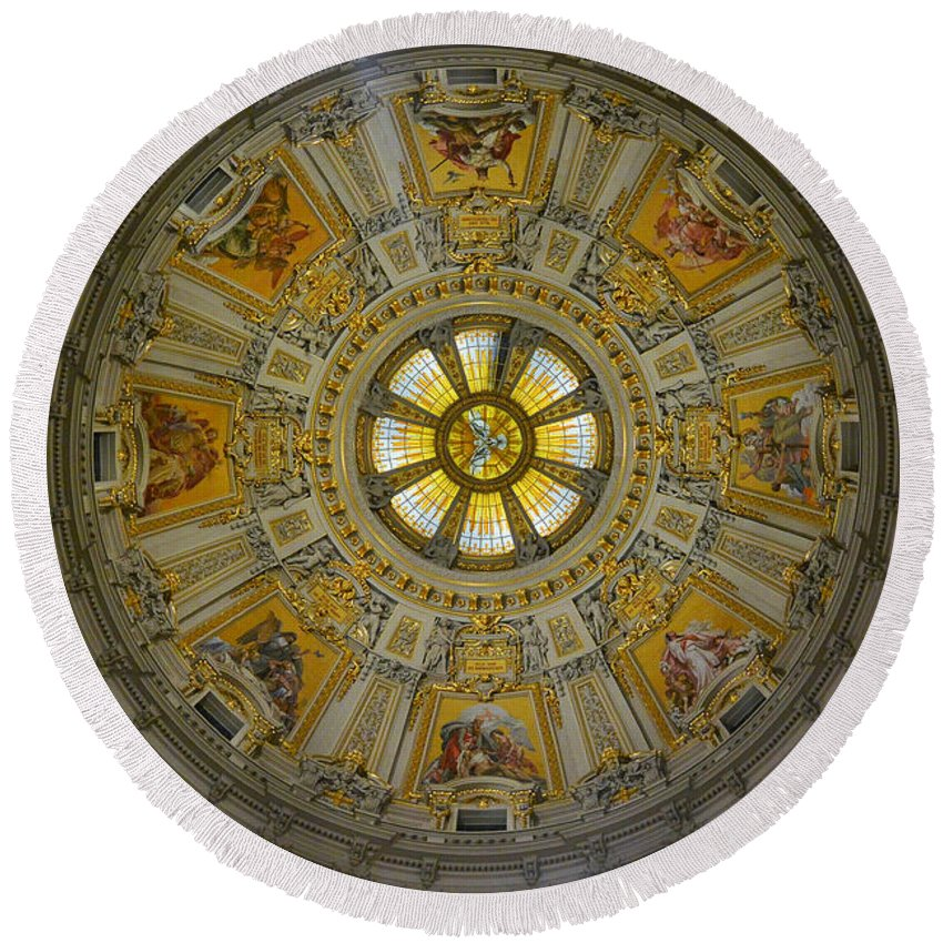 Berlin Cathedral Round Beach Towel featuring the photograph Ceiling Of The Berlin Cathedral by Two Small Potatoes
