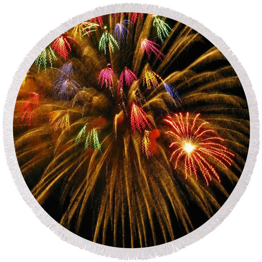 Fireworks Round Beach Towel featuring the photograph Celebrate by Rhonda Barrett