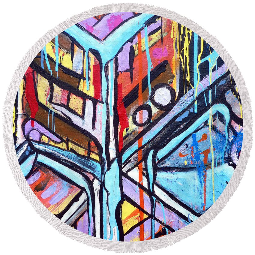 Abstract Round Beach Towel featuring the painting Celebrating The Future - Left by Larry Calabrese