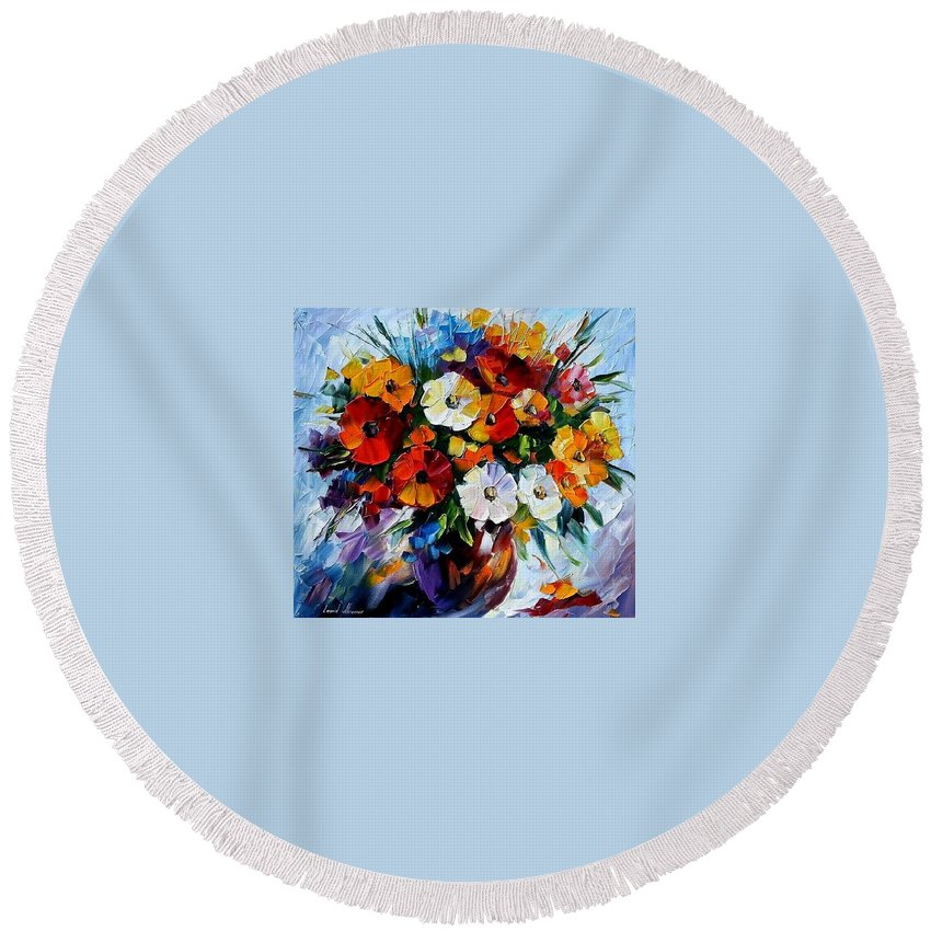 Flowers Round Beach Towel featuring the painting Celebration Bouquet by Leonid Afremov