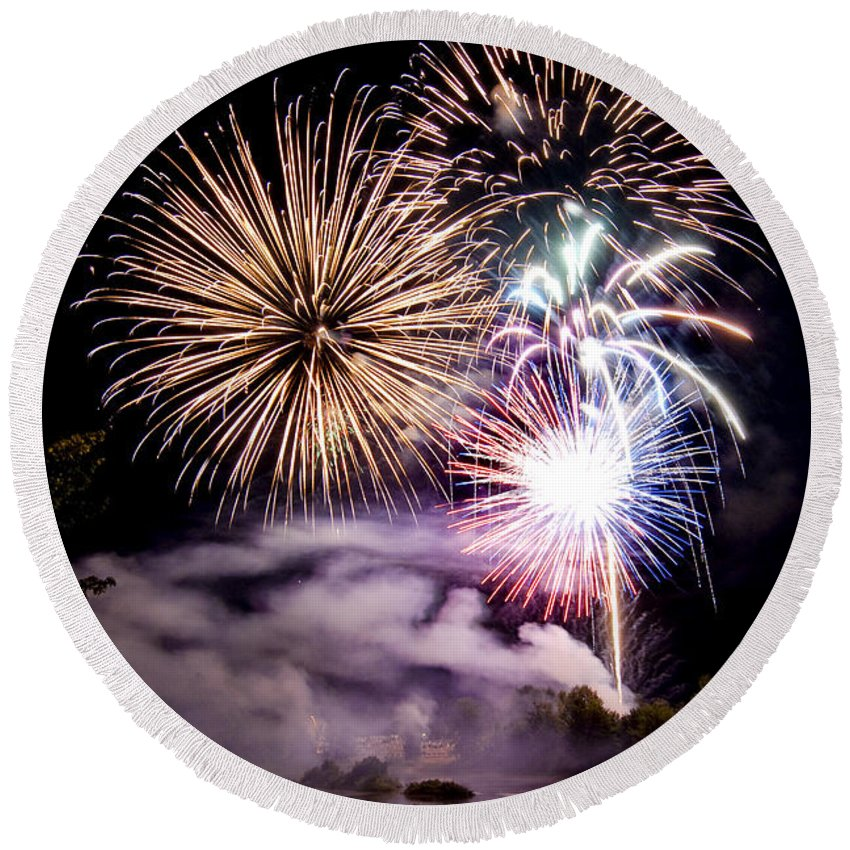 Fireworks Round Beach Towel featuring the photograph Celebration by Greg Fortier