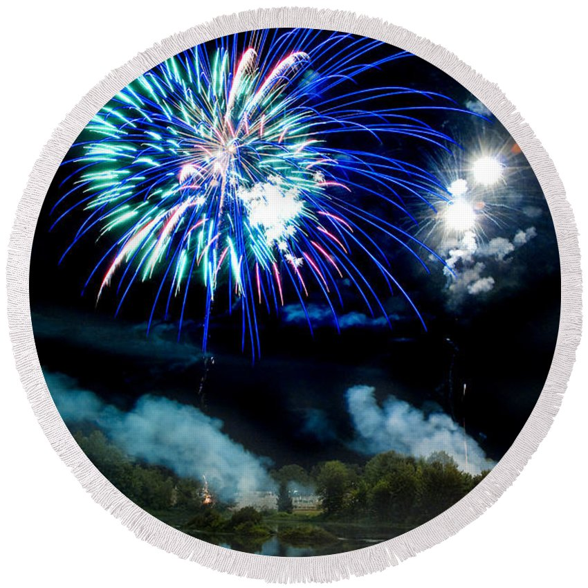 Fireworks Round Beach Towel featuring the photograph Celebration II by Greg Fortier