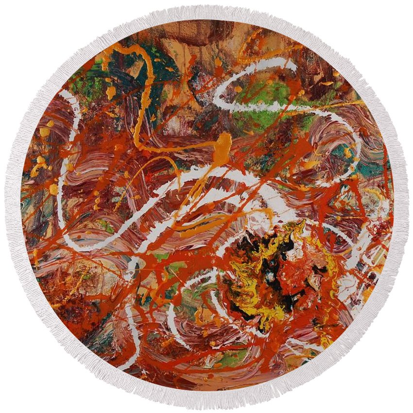Orange Round Beach Towel featuring the painting Celebration II by Nadine Rippelmeyer