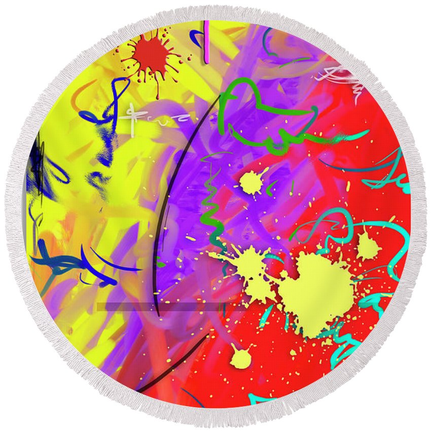 Abstract Round Beach Towel featuring the painting Celebration by Snake Jagger