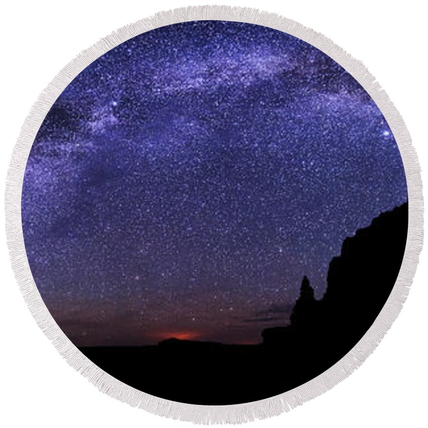 Celestial Arch Round Beach Towel featuring the photograph Celestial Arch by Chad Dutson