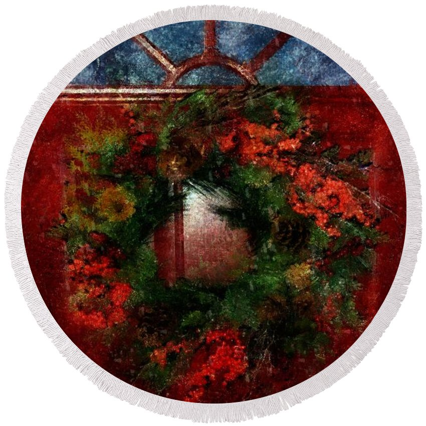 Christmas Round Beach Towel featuring the painting Celestial Christmas by RC DeWinter