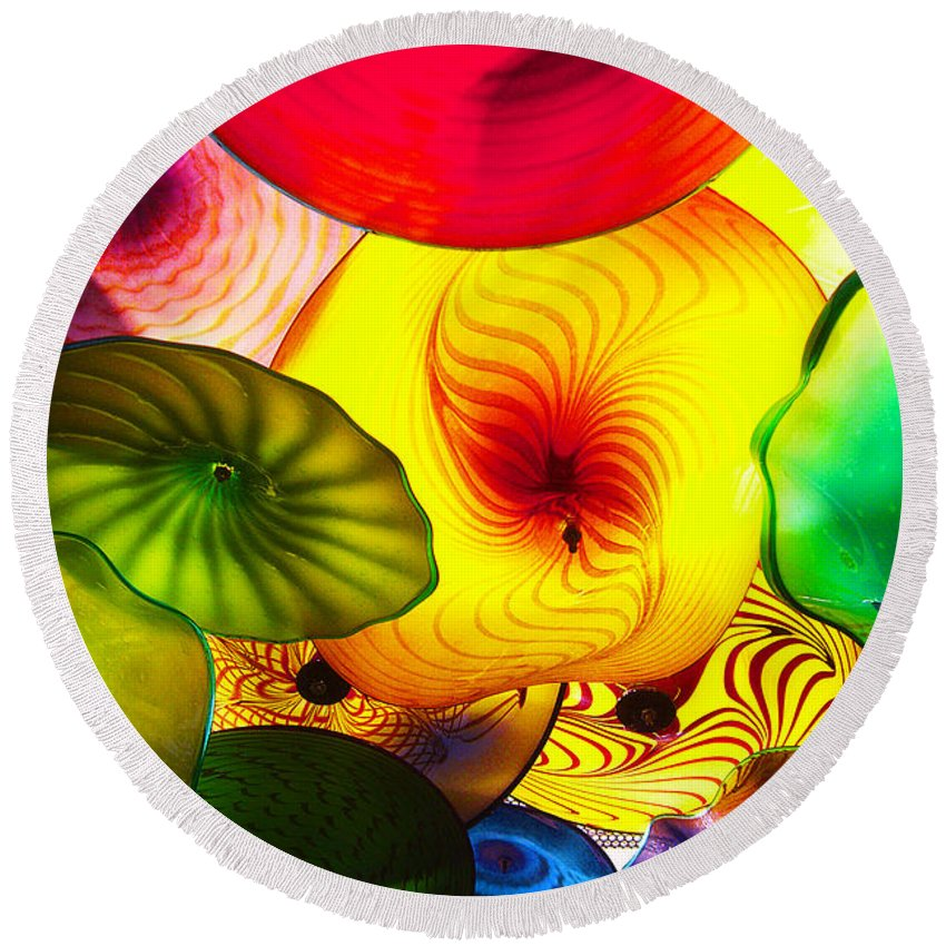 Glass Round Beach Towel featuring the photograph Celestial Glass 2 by Xueling Zou