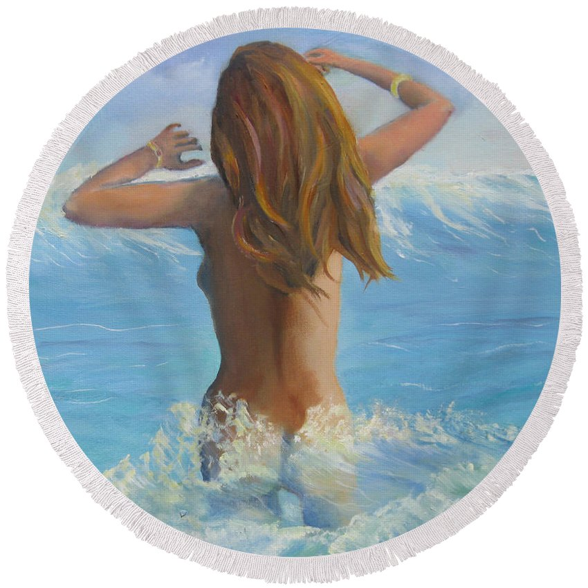 Physical Embodiment Round Beach Towel featuring the painting Celestrial by Marcel Quesnel