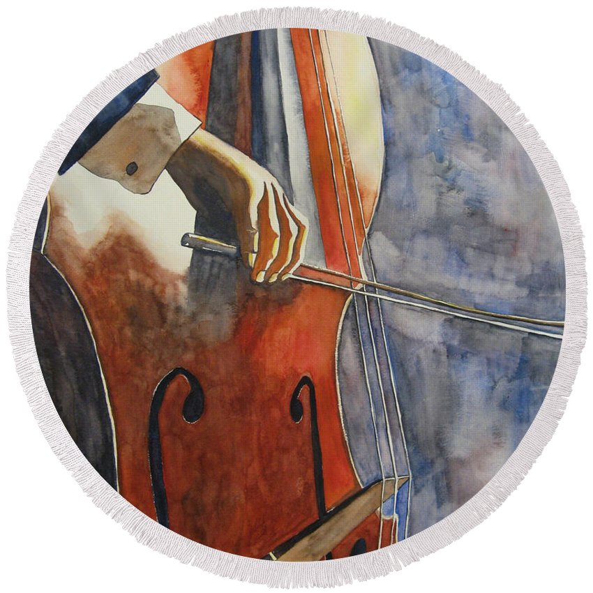 Music Round Beach Towel featuring the painting Cello by Guri Stark