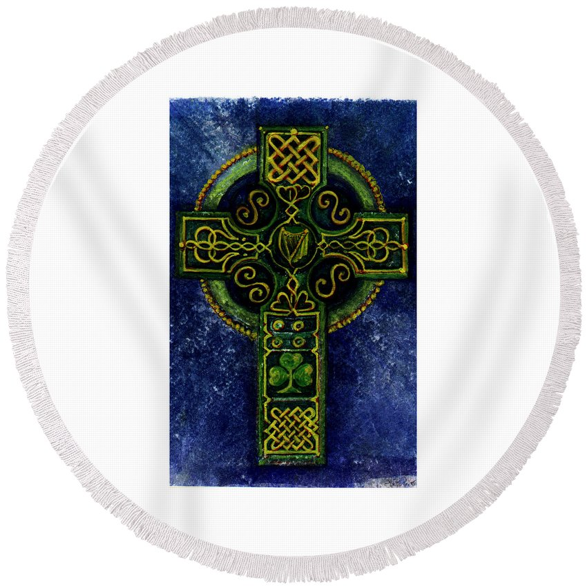 Elle Fagan Round Beach Towel featuring the painting Celtic Cross - Harp by Elle Smith Fagan