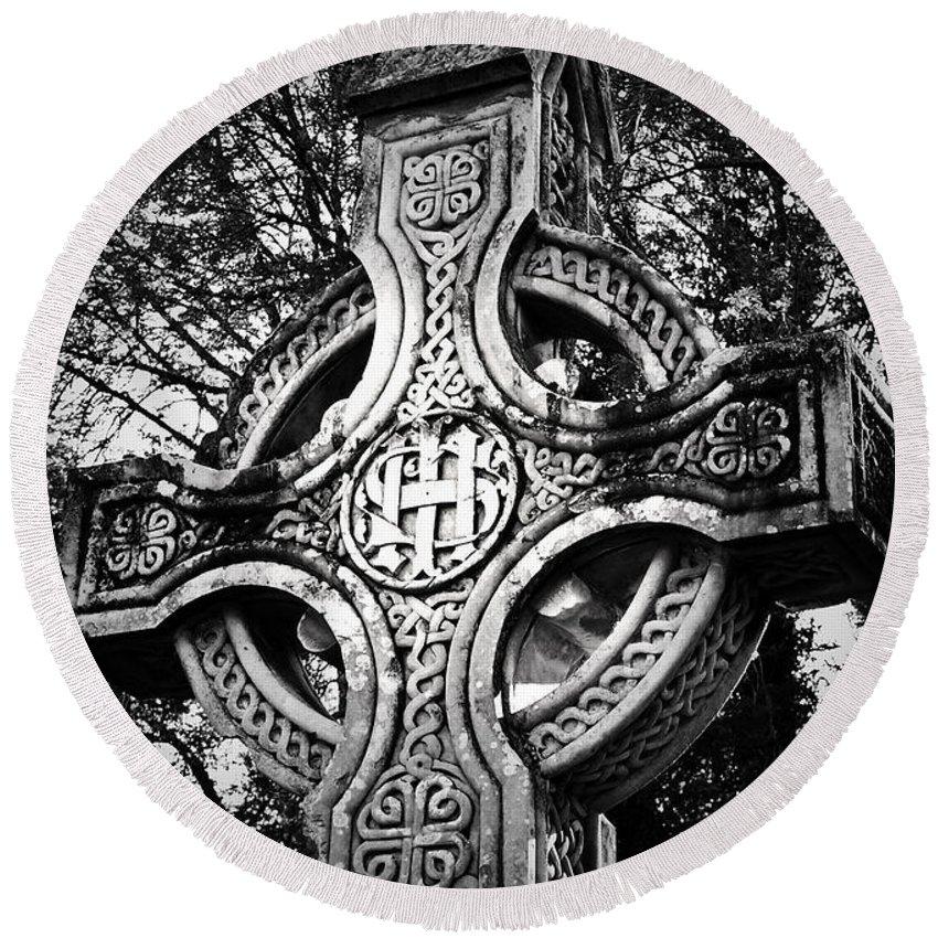 Irish Round Beach Towel featuring the photograph Celtic Cross Detail Killarney Ireland by Teresa Mucha