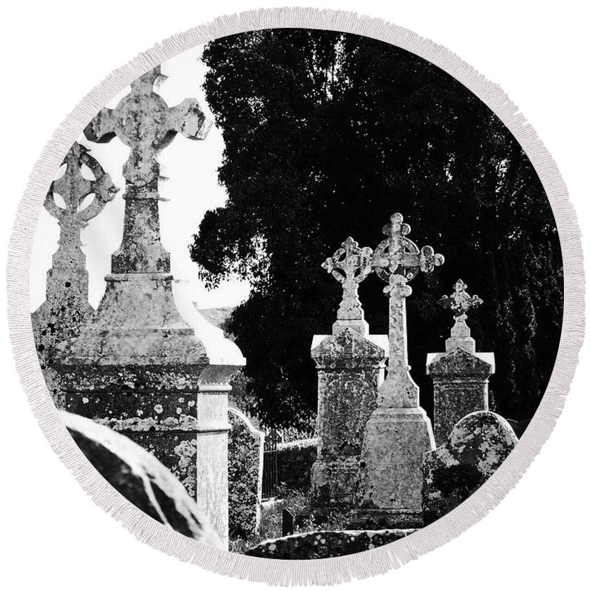 Celtic Round Beach Towel featuring the photograph Celtic Crosses At Fuerty Cemetery Roscommon Ireland by Teresa Mucha