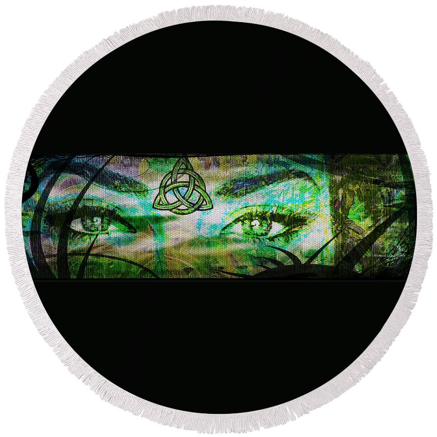 Eyes Round Beach Towel featuring the digital art Celtic Eyes by Absinthe Art By Michelle LeAnn Scott
