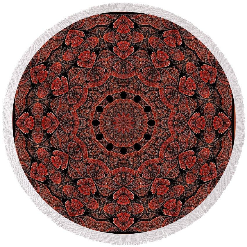Round Beach Towel featuring the digital art Celtic Key Tile by Doug Morgan