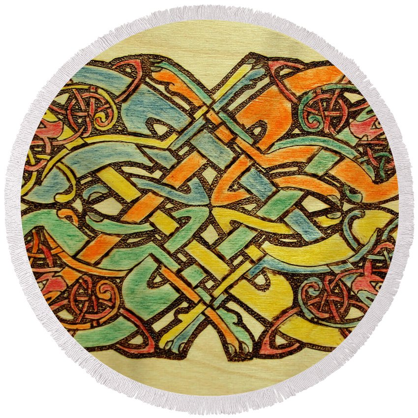 Celtic Knot Round Beach Towel featuring the pastel Celtic Knot 1 by David Yocum