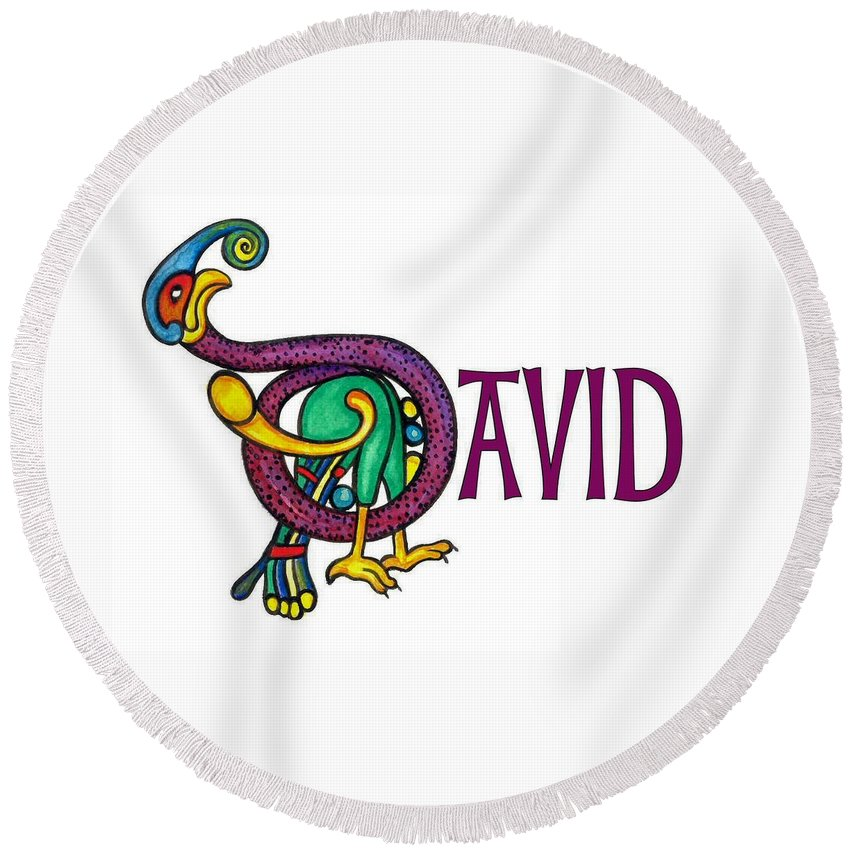 Celtic Round Beach Towel featuring the painting Decorative Celtic Name David by Frances Gillotti