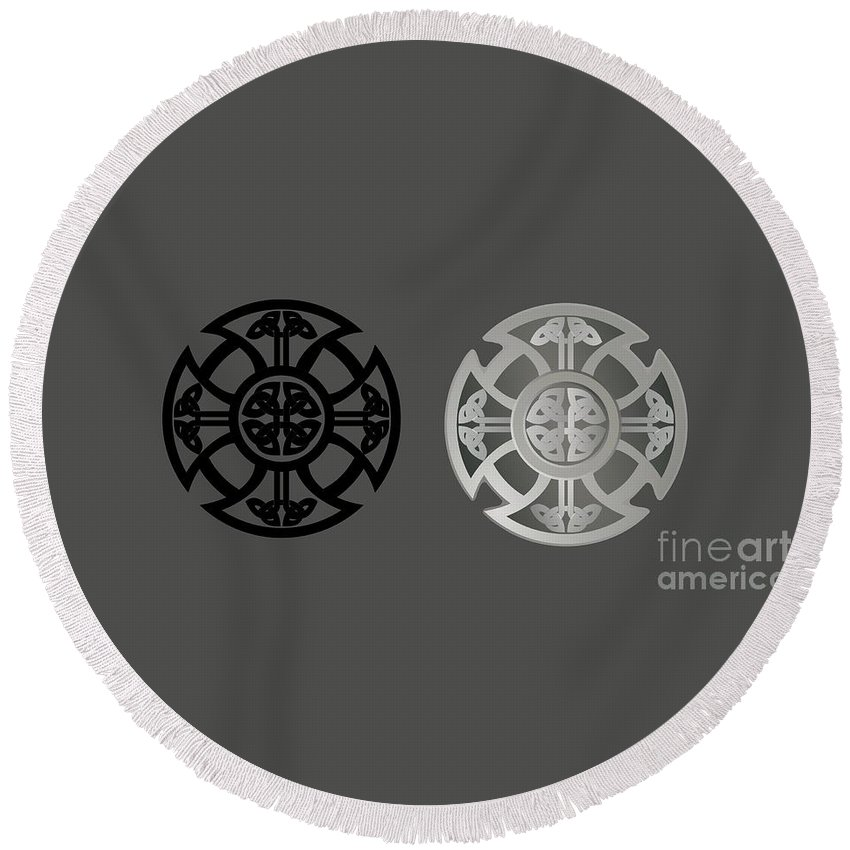 Witchcraft Round Beach Towel featuring the digital art Celtic Shield by Frederick Holiday
