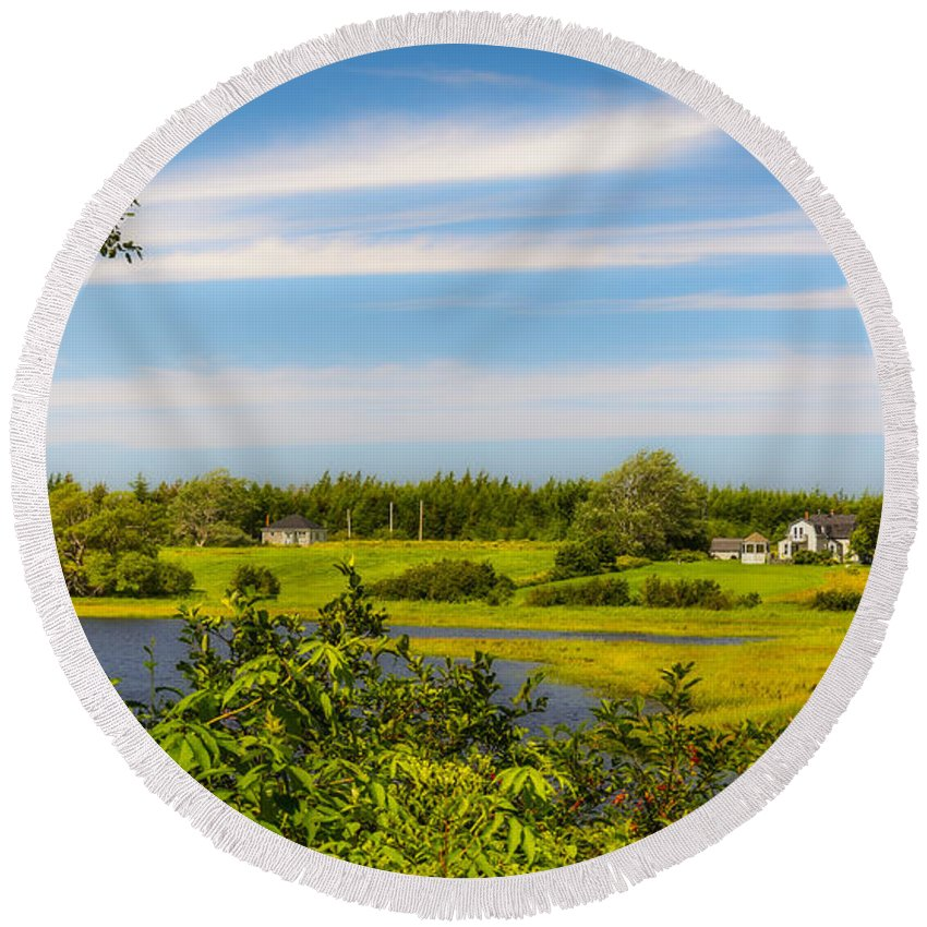 Cape Breton Round Beach Towel featuring the photograph Celtic Shores Coastal Trail by Ken Morris