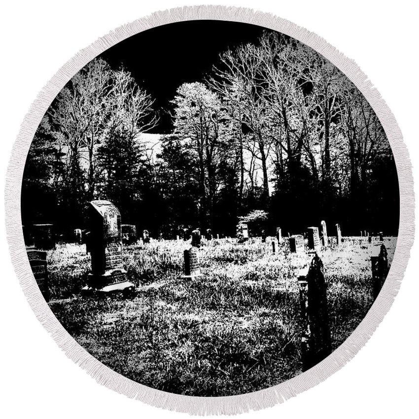Outside Round Beach Towel featuring the photograph Cemetary by Charleen Treasures