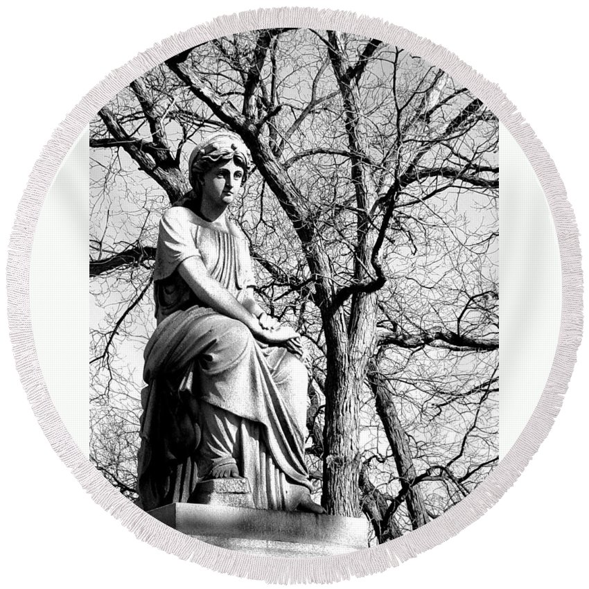 Cemetary Round Beach Towel featuring the photograph Cemetary Statue B-w by Anita Burgermeister