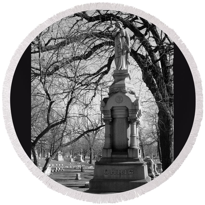 Cemetery Round Beach Towel featuring the photograph Cemetery 1 by Anita Burgermeister